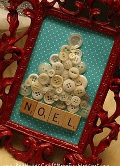 Here is a simple idea for a DIY christmas wall art. A wood frame, a bunch of vintage buttons and some scrabble letters are things you'll need to make it. Of course you'll also need a hot glue gun.