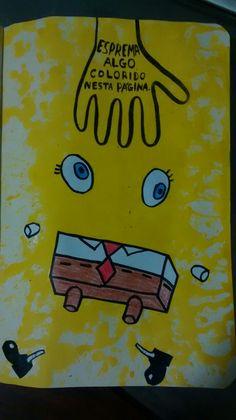Destrua este diário // Wreck this journal, Sponge Bob's death. Bullet Journal Notebook, Bullet Journal Ideas Pages, Art Journal Pages, Wreak This Journal Pages, Wreck This Journal Everywhere, Bob Sponge, Create This Book, Header Banner, Drawing Quotes