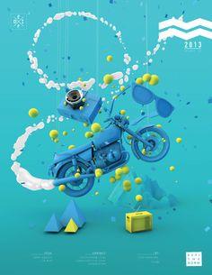 Zero gravity in blue by Luis Aguilera, via Behance