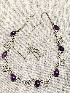 Vintage Silver Necklace with Amethyst Looking Paste, Glass Stones  | eBay
