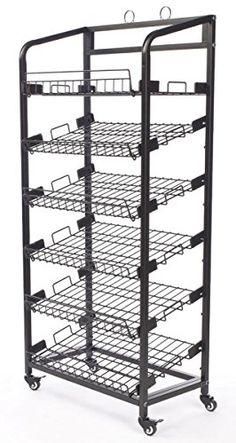 Best Wine Rack | Displays2go Steel Bakers Rack with Wheels 6 Wire Shelves  Black --