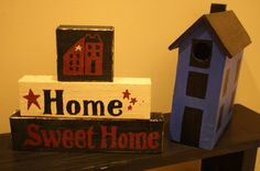 HOME SWEET HOME Hand Painted Shelf Sitter Sign by UniquePrimtiques, $12.00