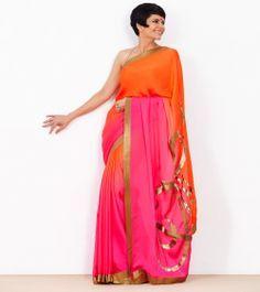 3475ae3a809 Pink   Orange Shaded Satin Georgette Saree Georgette Sarees