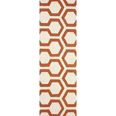 nuLOOM Hand-hooked Modern Lingo Trellis Orange Runner Rug (2'6 x 8')