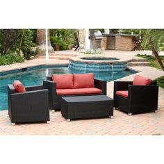 ABBYSON LIVING Hampton Outdoor Black Wicker 4-piece Sofa Set - Overstock™ Shopping - Big Discounts on Abbyson Living Sofas, Chairs & Sectionals