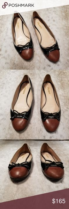 d3ebc1aadf50 Prada Cap Toe Ballet Flat in Brown and Black Please look at pictures for  full assessment