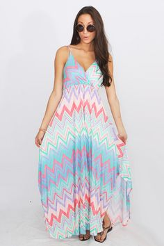 Darah Dahl Summer Chevron Maxi Dress