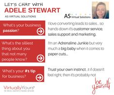 We caught up with Adele Stewart from AS Virtual Solutions and learnt some cool little tidbits about her. Check it out!