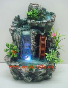 Waterfall and water wheel, fairy garden, miniature garden, water garden