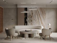 Soft minimal apartment on Behance Lounge Chair Design, Sofa Design, Furniture Design, Minimal Apartment, Minimal Living, Curved Sofa, Interior Decorating, Interior Design, Studio Interior