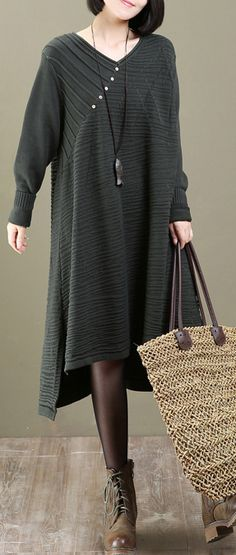 431e0b941c boutique green buttons dotted long sweaters plus size sweaters Fine  asymmetrical sweater