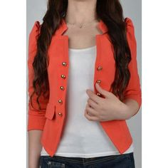 Stylish Stand Collar Long Sleeves Double-Breasted Embellished Women's Slimming Fit Blazers, JACINTH, XL in Blazers | DressLily.com