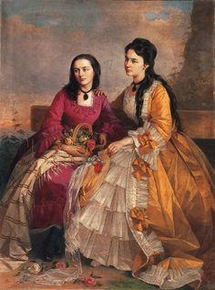 History of fashion in art & photo György Vastagh - Sisters) 1870s Fashion, Victorian Fashion, 19th Century Fashion, Fashion Painting, Gold Art, Vintage Artwork, Historical Costume, Female Art, Bunt