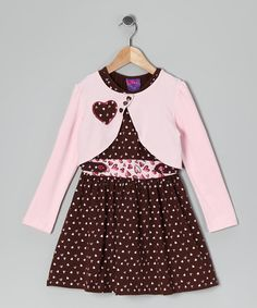 Take a look at this Brown Heart Dress & Bolero - Infant, Toddler & Girls by CR Cute on #zulily today!