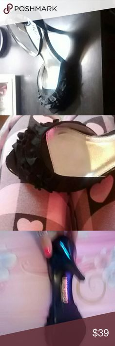 New black high heel shoes with ruffle detail Black peep toe heels with ruffle detail Unlisted Shoes Heels
