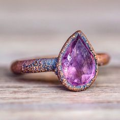 Amethyst Tear Drop and Copper Ring - www.indieandharper.com - bohemian gypsy festival jewellery boho jewelry - indie and harper