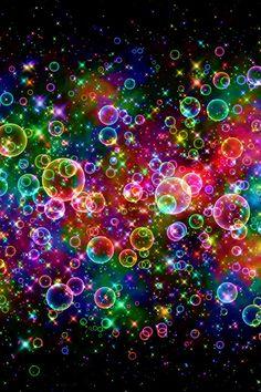 Rainbow Soap Bubbles at Night