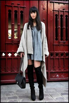 over the knee boots street style Fall Winter Outfits, Autumn Winter Fashion, Look Fashion, Womens Fashion, Hippie Fashion, Fall Fashion, Outfit Trends, Mode Inspiration, Fashion Inspiration