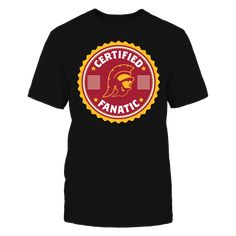 """Certified USC Trojans Fanatic T-Shirt, Officially Licensed Exclusive Design Join the University of Southern California fan elite with this fun """"Certified USC Trojans Fanatic"""" retro seal design. Makes a great gift for super fans of the USC Trojans! Not Available in Stores!  The USC Trojans Collection, OFFICIAL MERCHANDISE  Available Products:          District Men's Premium T-Shirt - $27.95 District Women's Premium T-Shirt - $29.95 Next Level Women's Premium Racerback Tank - $29.95 Pack of 4…"""