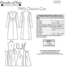 Schnittmuster: 4009 - 1940s Claremont Coat