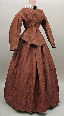 Brown silk damask dress, 1860s? Could be 1870's, with long basque front