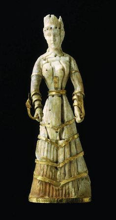Statuette dating from the Late Minoan I, 1600–1500 BC, or early 20th century. Thought to be from Crete and made from ivory and gold. (Courtesy of the MFA, Boston.)