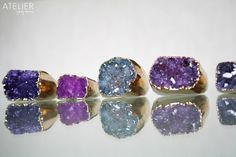 Natural drusy rings dipped in 24k gold!! <3 Get yours at: www.facebook.com/ateliergabymarcos
