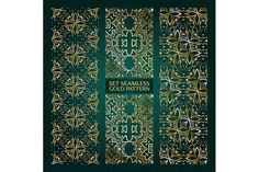 Set of 3 golden lace pattern green-2 by nastyaaroma on @creativemarket