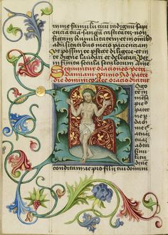 """""""Initial R: The Man of Sorrows,"""" Workshop of Valentine Noh, c. 1470-1480. Note the exquisitely detailed background of red and gold behind Christ, and the vibrant colors used for the floral decoration in the margins. #manuscript"""