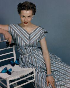Grey, blue and white striped 1950s v-neck dress