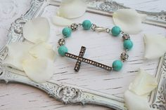 Rhinestone Cross and Turquoise Bracelet~