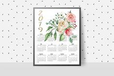 Print Calendar, Yearly Calendar, Calendar 2020, Desk Calendars, Weekly Planner, Paper Goods, Watercolor Flowers, Digital Prints, Office Supplies