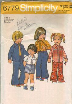 Vintage Sewing Simplicity 6779 Toddlers' Bell-Bottom Pants or Shorts n Shirt Size 4 Pattern is produced in 1974 is cut pattern. 11 pattern pieces and instructions are in the envelope. This pattern is used for either boy or girl. by NookCove, $4.99