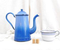Antique 2 Tone Blue  Enamelware Cafetière / Coffee Pot / French Country Decor / Retro Vintage Home Interior / kitchenalia Cottage Kitchen by VintageDecorFrancais on Etsy