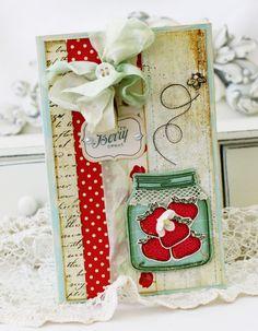 LOVE this strawberries in a mason jar card!