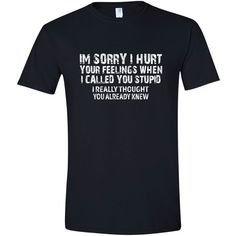 Stupid T Shirt Break-Up T Shirt Break-Up Tops Stupid T Shirts... ($15) ❤ liked on Polyvore featuring tops, t-shirts, black, women's clothing, print t shirts, ribbed t shirt, cap sleeve tee, cap sleeve t shirt and pattern t shirt