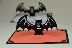 Pop-up Halloween Einladung mit Fledermaus