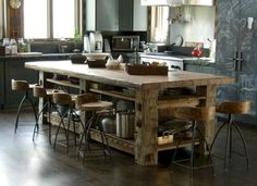 Rustic Countertops - Most Girly Things! - - Rustic Countertops - Most Girly Things! Rustic Kitchen Tables, Farmhouse Kitchen Island, Rustic Kitchen Design, Kitchen Island With Seating, Country Kitchen, New Kitchen, Kitchen Ideas, Kitchen Islands, Awesome Kitchen