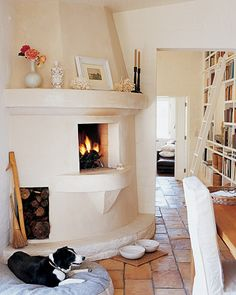 the cool fireplace, the tiled floor