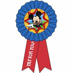 """Disney Mickey Mouse Clubhouse Party 6/"""" Red Badge Award Ribbon Prize"""