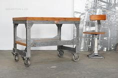Industrial Chic Rolling Console Table