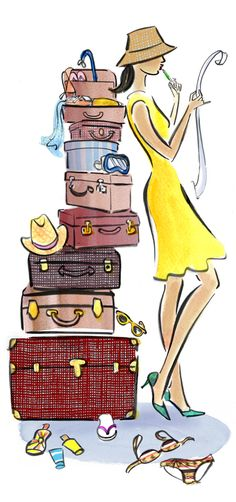#robynneild #newdivision #illustration #watercolour #luggage #suitcase #lady