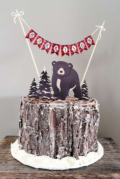 Loving the birthday cake at this Baby Bear Lumberjack Birthday Party Ideas! See more party ideas and share yours at CatchMyParty.com