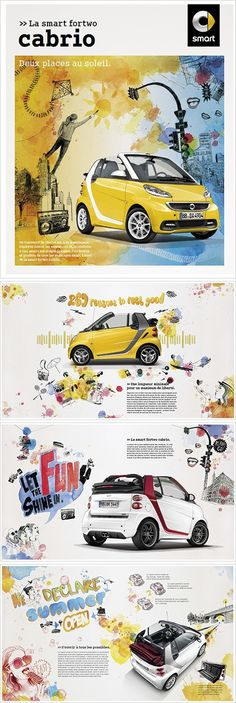 """Silke Werzingercreated several illustrations for the Smart fortwo cabrio car on the theme of summer in the city ; """"Two seats under the sun"""". You can have a look at her illustrations here in the catalogue or on the website."""