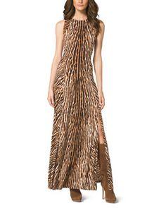T8UYC MICHAEL Michael Kors  Mixed-Print Studded Maxi Dress