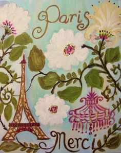 "Eiffel Tower Artist - Karen Fields I love this ""shabby chic-type"" art, as well as soft pastel florals."