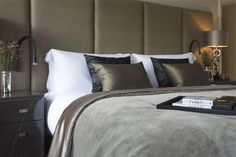 luxurious fabrics and touches of black - contemporary bedroom - boutique hotel style - Lawson Robb - Architecture and Interior Design