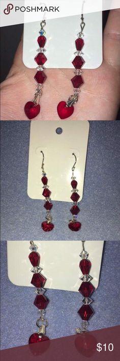 Handmade beaded red heart earrings Handmade beaded red heart earrings Jewelry Earrings
