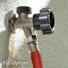 a leaking frost-proof faucet can waste a lot of water, but fixes are simple, whether the problem is the faucet stem washer assembly, the vacuum breaker, or just a loose retaining nut. Leaking Faucet, Water Faucet, Water Hose, Outdoor Faucet Repair, Home Fix, Diy Home Repair, Faucet Handles, Home Repairs, Do It Yourself Home