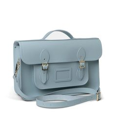 Blue 15 Inch Classic Batchel in Leather – The Cambridge Satchel Company UK Store Pack Your Bags, Cambridge Satchel, Embossed Logo, Briefcase, You Bag, Dust Bag, Shoulder Strap, Take That, Pairs